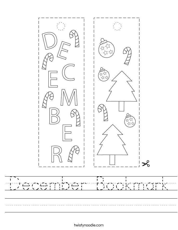 December Bookmark Worksheet