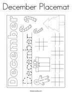 December Placemat Coloring Page