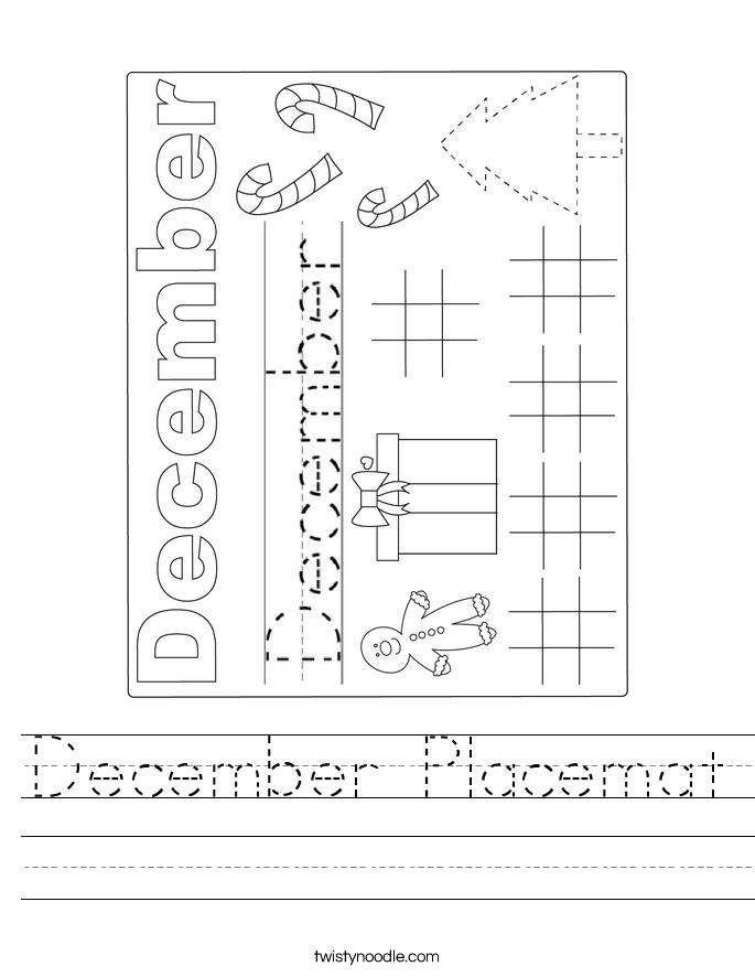 December Placemat Worksheet