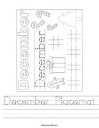 December Placemat Handwriting Sheet