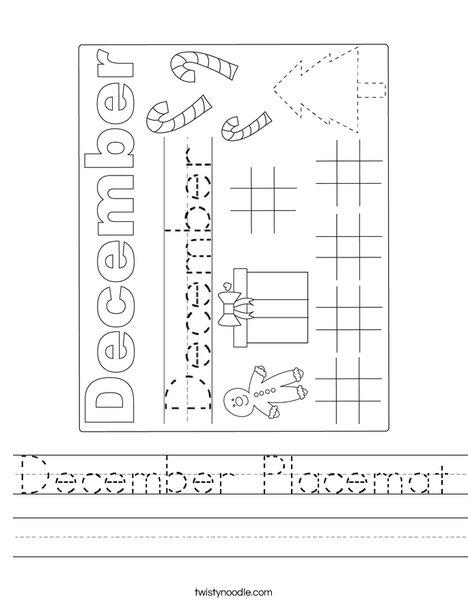 December Placeamat Worksheet