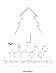 Decorate the Christmas Tree Handwriting Sheet