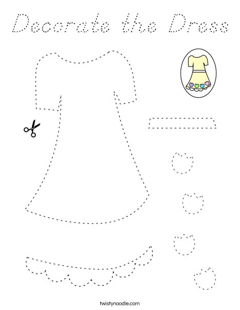 Decorate the Dress Coloring Page