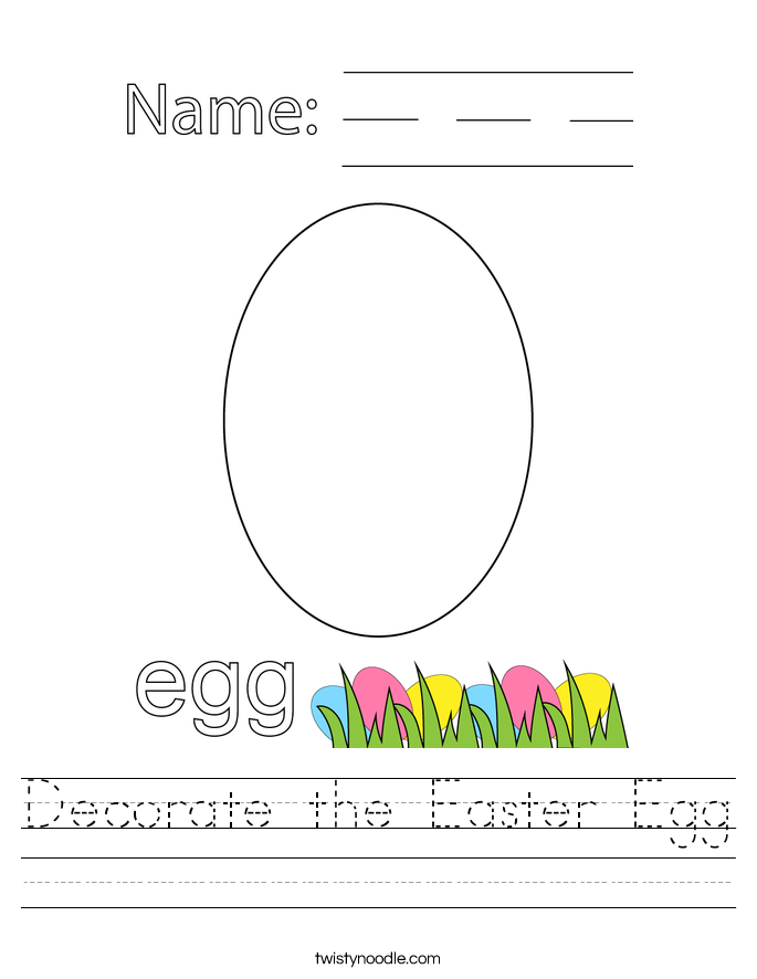 Decorate the Easter Egg Worksheet