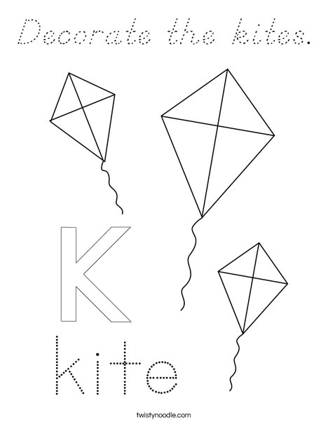 Decorate the kites. Coloring Page