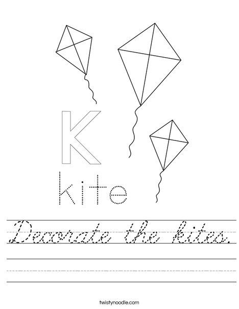 Decorate the kites. Worksheet