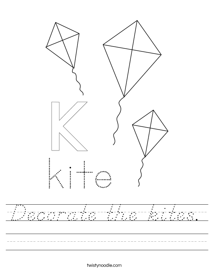 Decorate the kites. Worksheet
