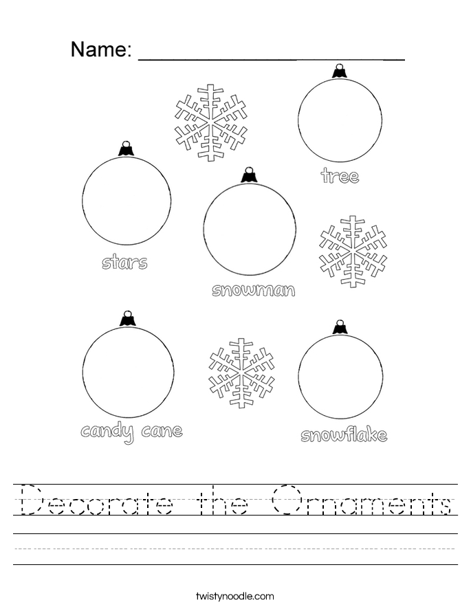 Decorate the Ornaments Worksheet