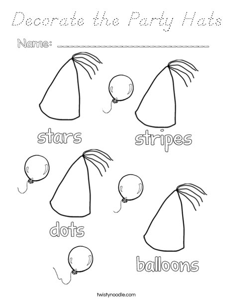 Decorate the Party Hats Coloring Page
