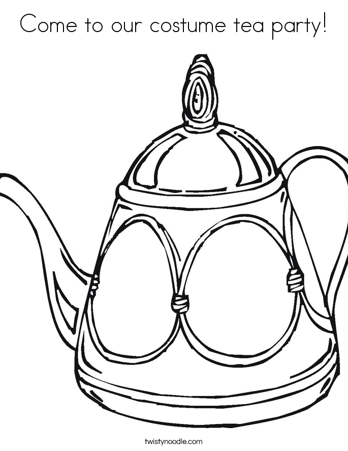Come to our costume tea party! Coloring Page