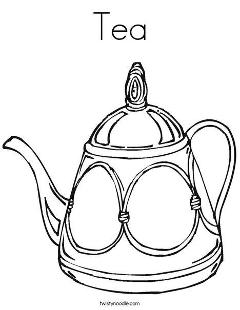 Tea Coloring Page - Twisty Noodle