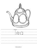 Tea Handwriting Sheet