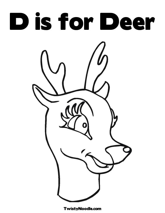 Deer Head Outline Coloring Pages