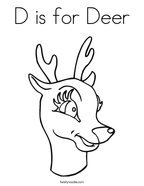 D is for Deer Coloring Page