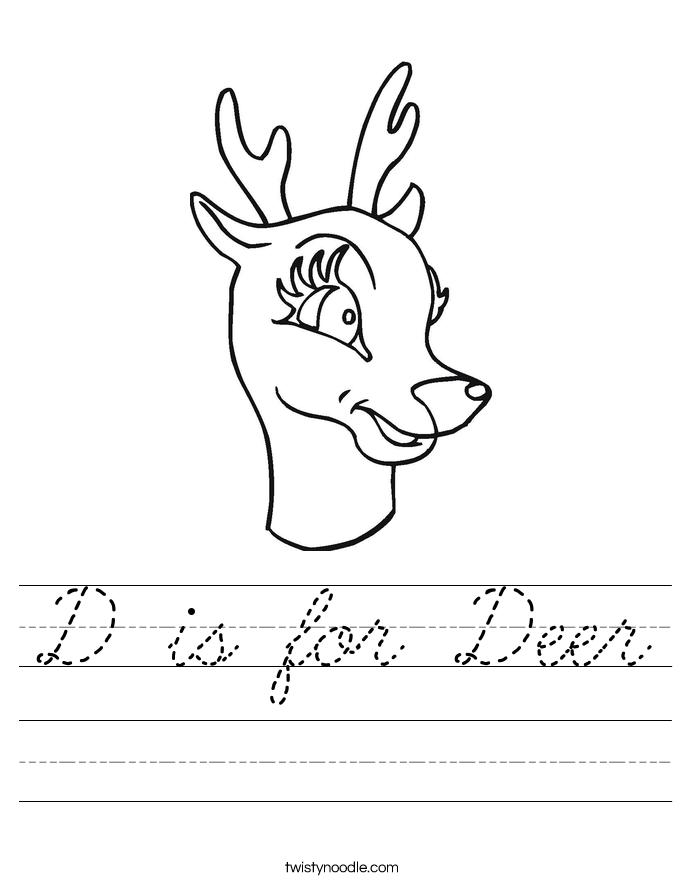 D is for Deer Worksheet