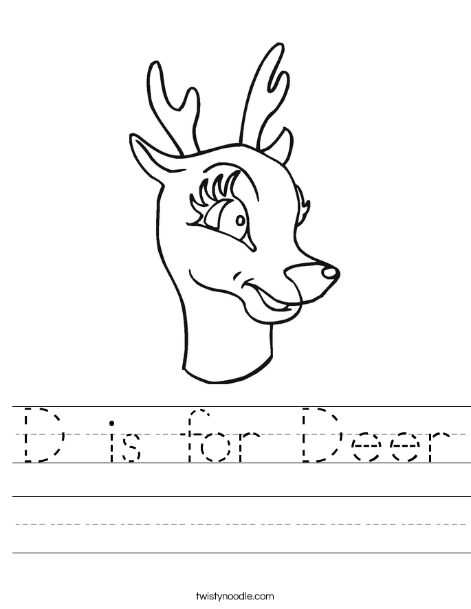 D is for Deer Worksheet