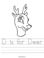 D is for Deer Handwriting Sheet