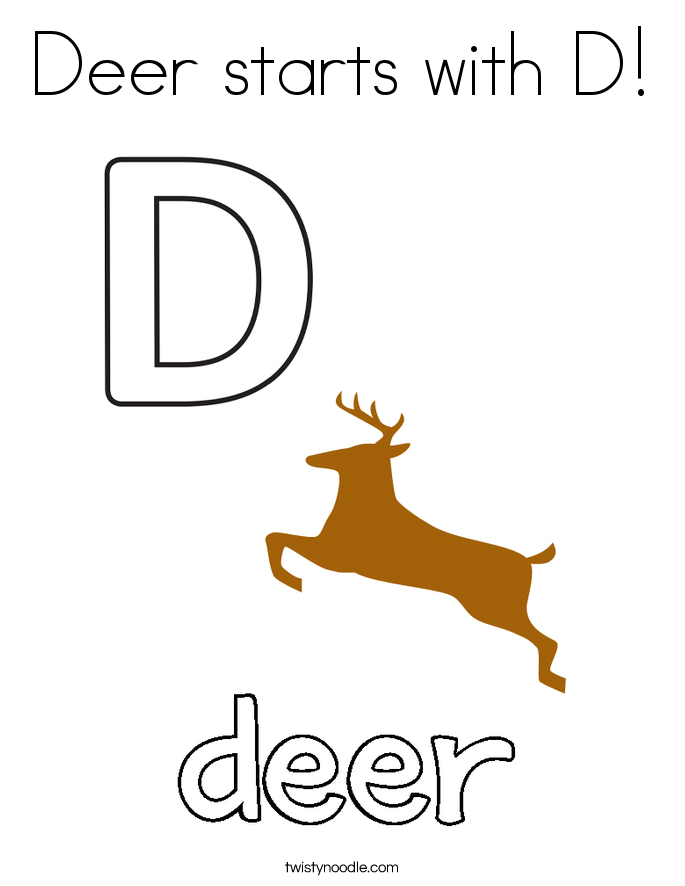 Deer starts with D! Coloring Page