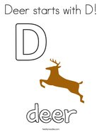 Deer starts with D Coloring Page