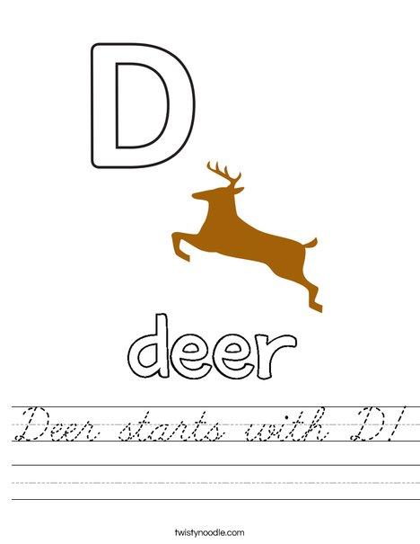 Deer starts with D Worksheet
