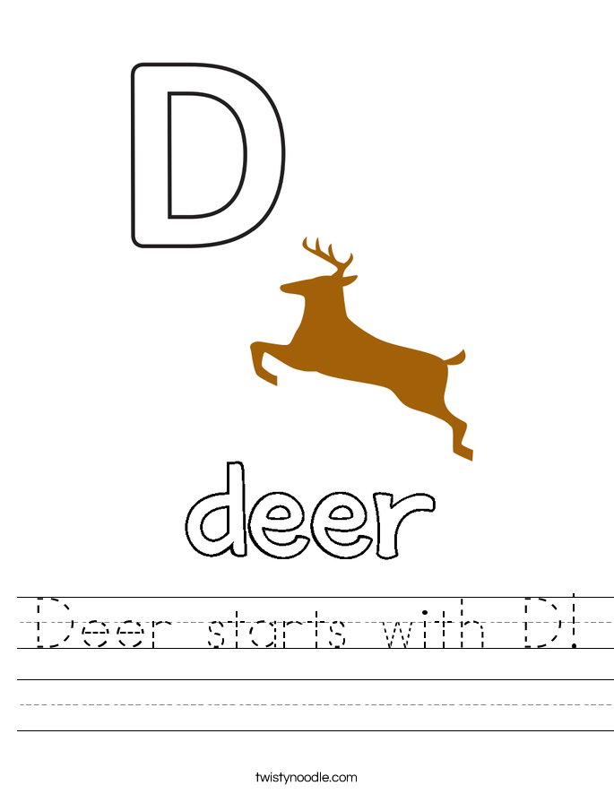 Deer starts with D! Worksheet