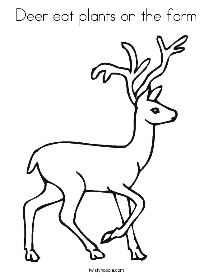 Deer eat plants on the farm Coloring Page