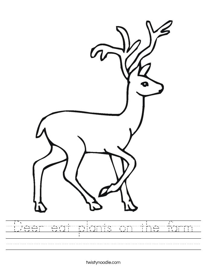 Deer eat plants on the farm Worksheet