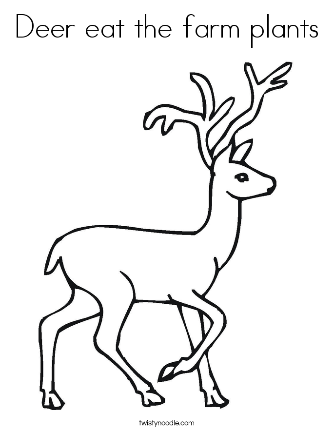 Deer eat the farm plants Coloring Page