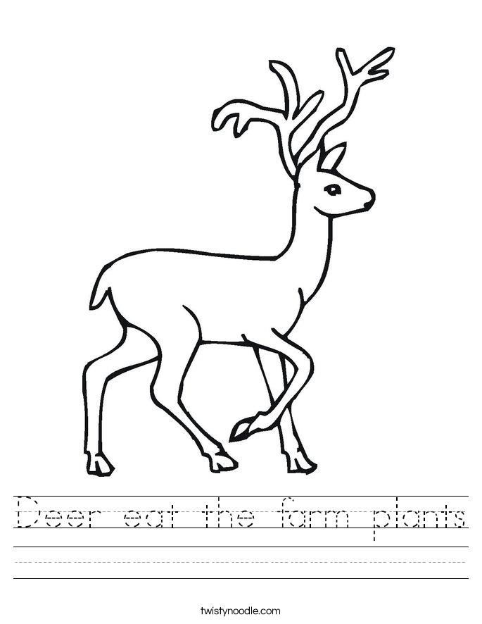 Deer eat the farm plants Worksheet