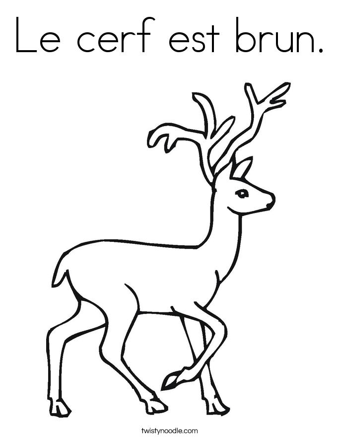 Le cerf est brun. Coloring Page