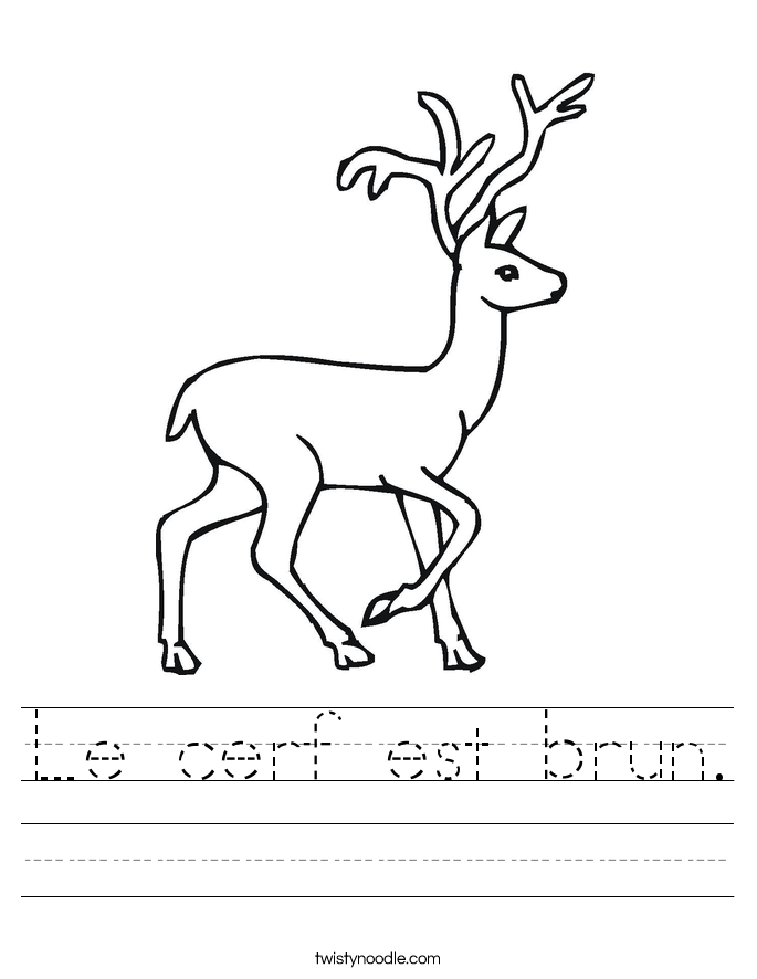 Le cerf est brun. Worksheet