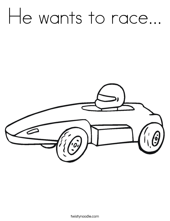 He wants to race... Coloring Page