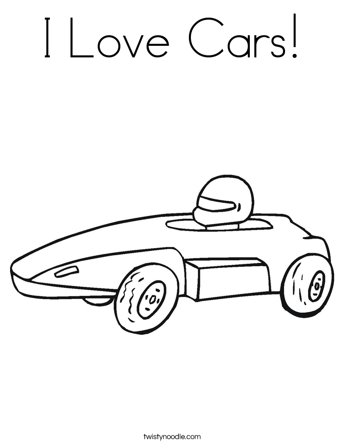 I Love Cars! Coloring Page