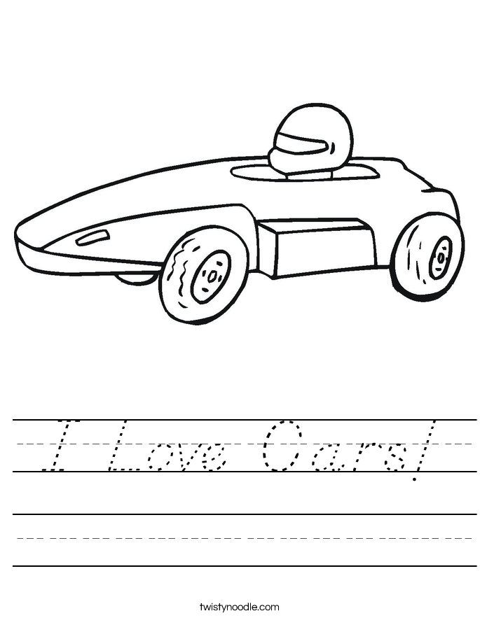 I Love Cars! Worksheet