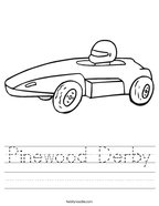 Pinewood Derby Handwriting Sheet
