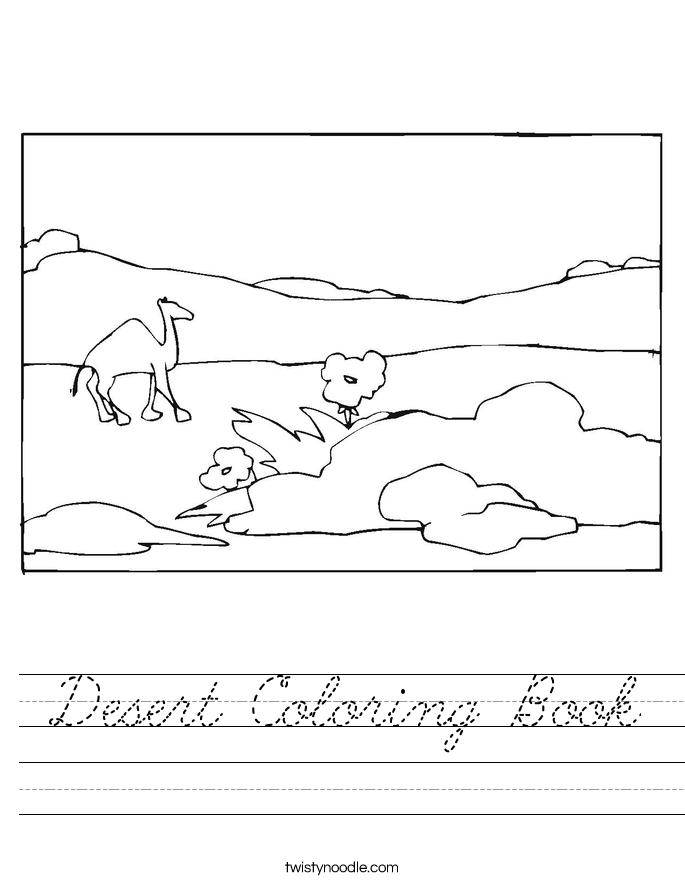 Desert Coloring Book Worksheet