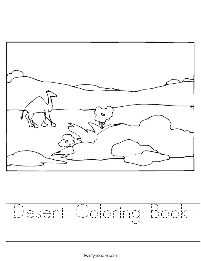 Desert Coloring Book Worksheet