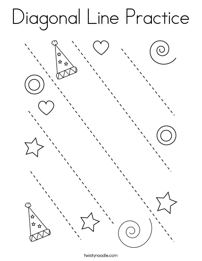 Diagonal Line Practice Coloring Page