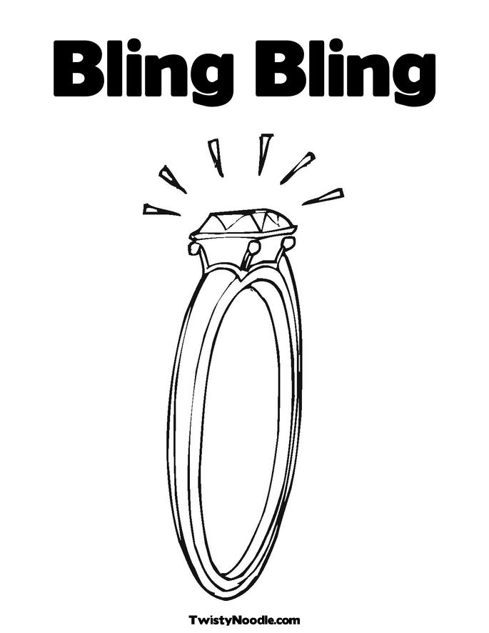 Bling Bling Coloring Page Diamond Engagement Ring Twisty Noodle