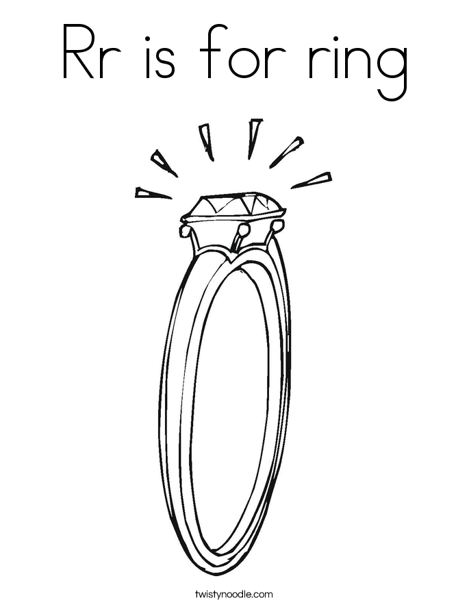 Rr is for ring Coloring Page
