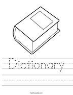 Dictionary Handwriting Sheet