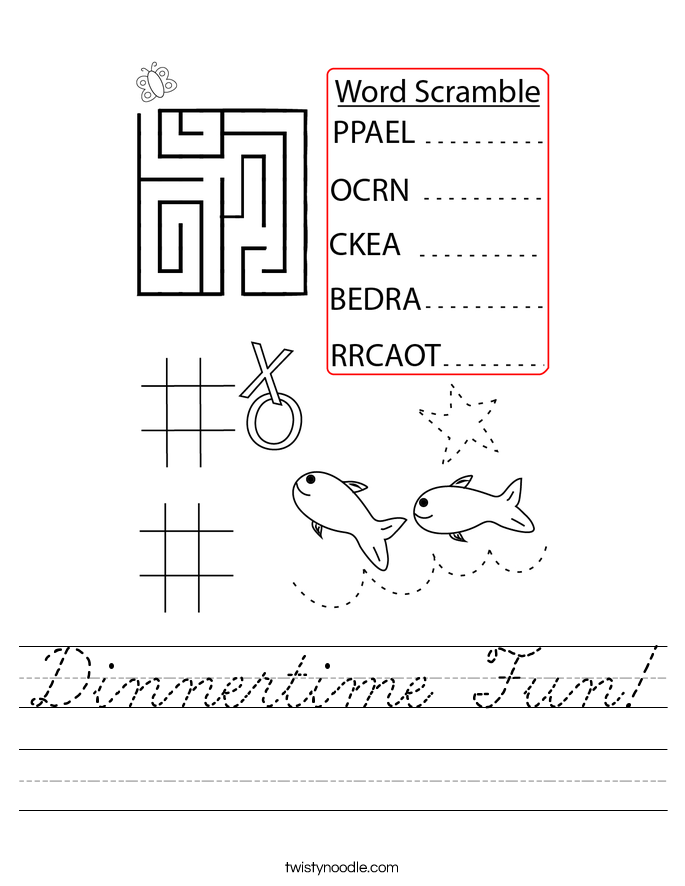 Dinnertime Fun! Worksheet