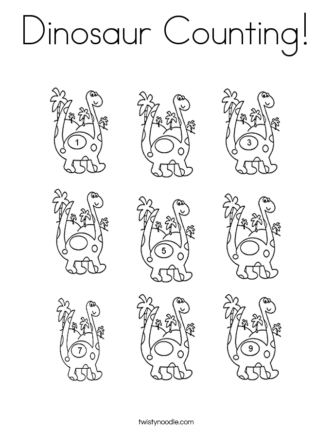 dinosaur counting coloring page twisty noodle. Black Bedroom Furniture Sets. Home Design Ideas