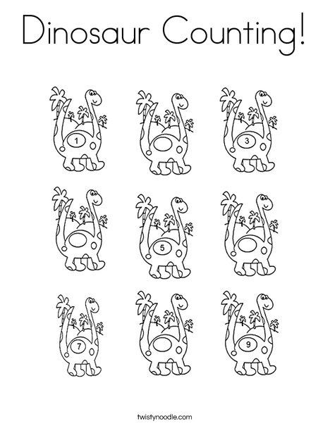 counting coloring pages Dinosaur Counting Coloring Page   Twisty Noodle counting coloring pages
