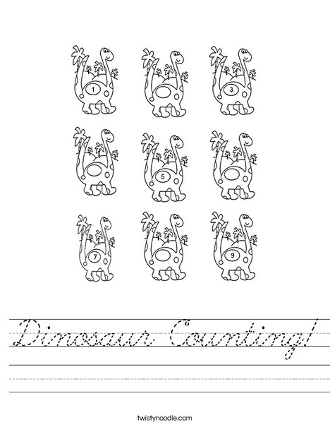Dino Counting Worksheet