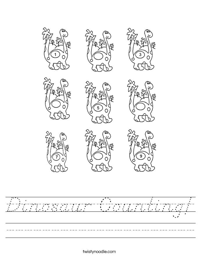 Dinosaur Counting Worksheet - D'Nealian - Twisty Noodle