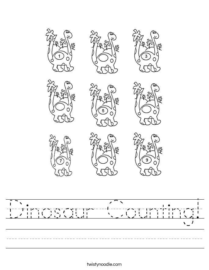 dinosaur counting worksheet twisty noodle. Black Bedroom Furniture Sets. Home Design Ideas