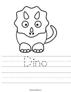 Dino Handwriting Sheet