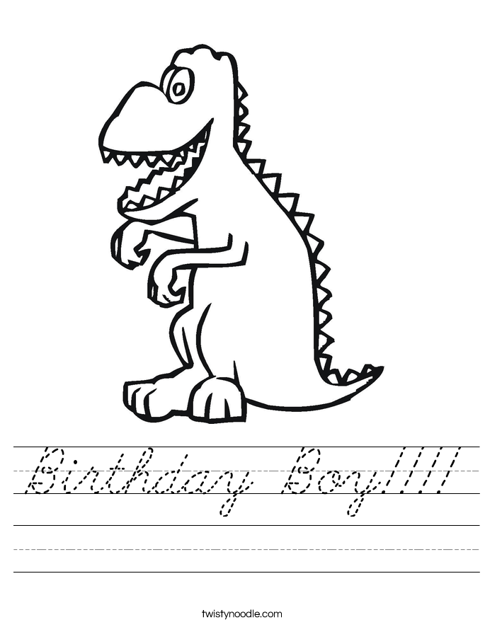 Birthday Boy Worksheet - Cursive - Twisty Noodle