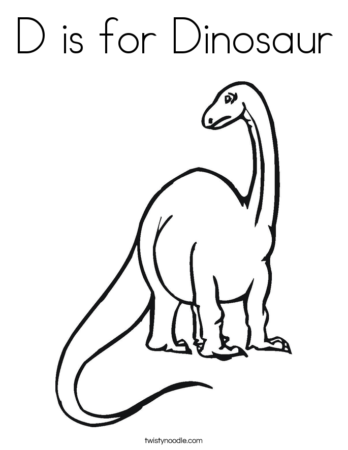 d is for dinosaur coloring page - Dinosaurs Coloring Pages Print